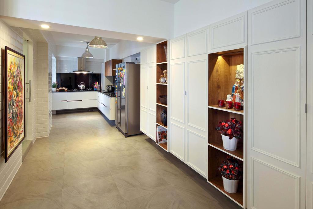 Contemporary, HDB, Kitchen, Hougang (Block 571), Interior Designer, The Scientist, Big Tiles, Square Tiles, Wainscoting Details, Door Details, Design Details, Door Design, Wall Art, Artwork, Shelves