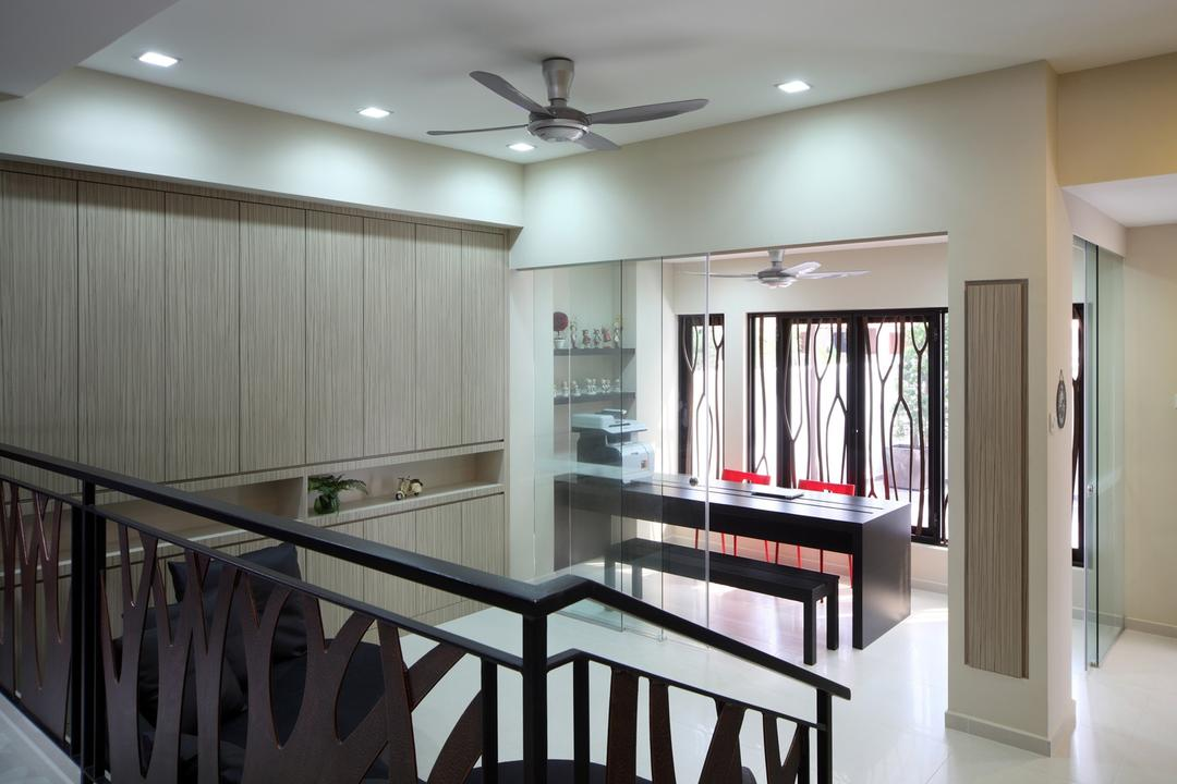 Jalan Ismail, Chapter One Interior Design, Modern, Study, Landed, Ceiling Fan, Wood Laminate, Wood, Laminate, Glass Wall, Handrails, Railing, Bench, Table, Study Table, Full Length Windows, Display Shelf, Columns, White, Chair, Furniture, Dining Room, Indoors, Interior Design, Room, Dining Table