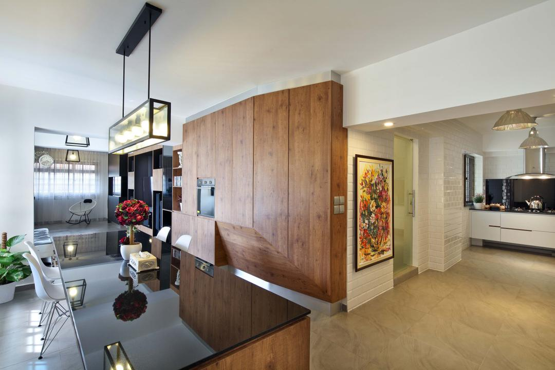 Hougang (Block 571), The Scientist, Contemporary, Dining Room, HDB, Walkway, Hallway, Counter, L Shaped Layout, Spacious, Indoors, Interior Design, Kitchen, Room