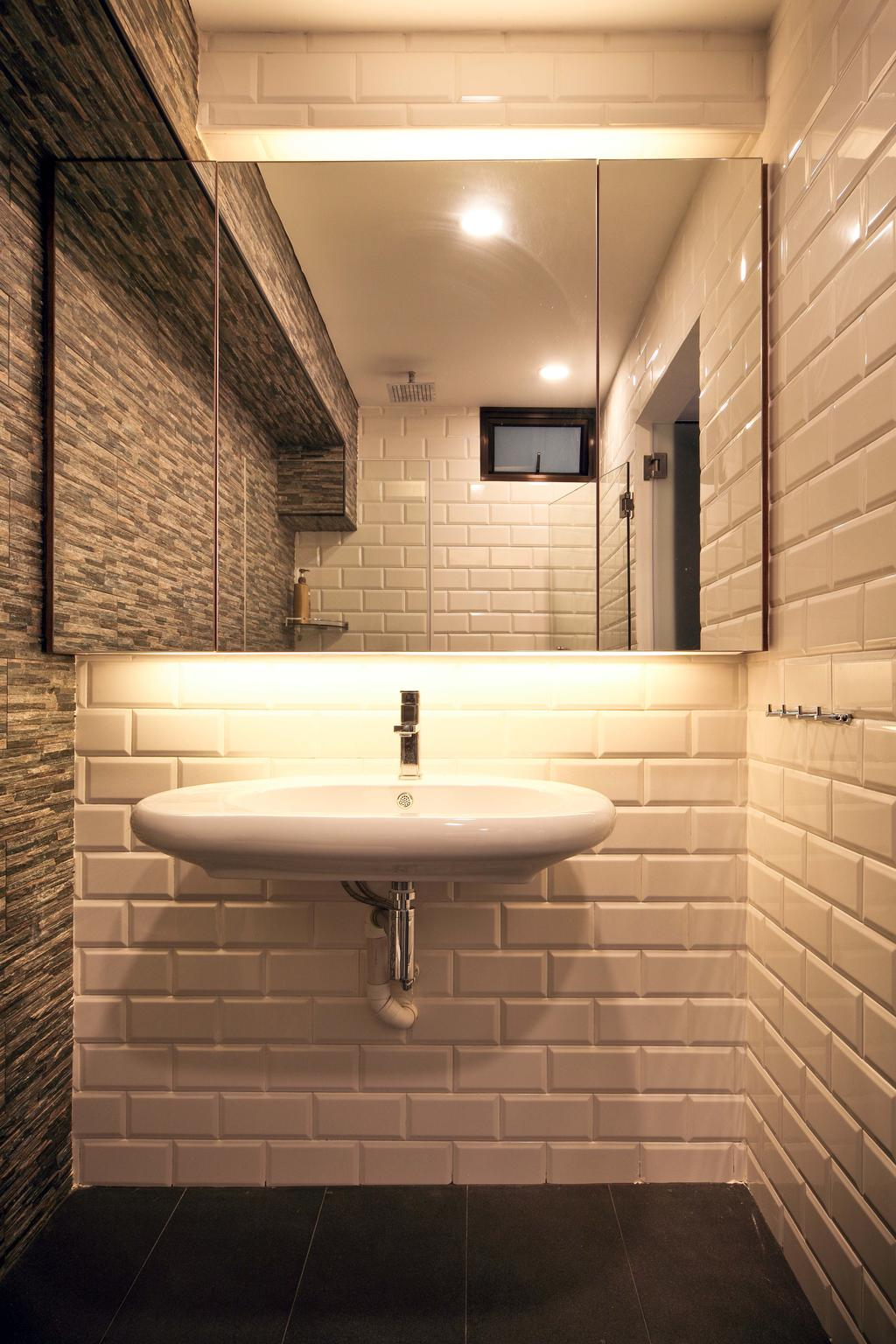 Contemporary, HDB, Bathroom, Hougang (Block 571), Interior Designer, The Scientist, Tiles, Subway Tiles, Craftstone Wall, Masonry Works, Oval Basin, Basin, Wall Mount Basin, Uneven Texture, Tile Grout, White Grout, Vanity Cabinet, Mirrored Door