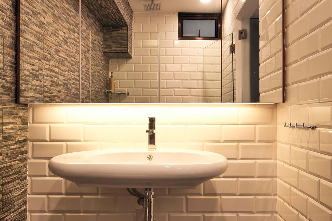 Hougang (Block 571), The Scientist, Contemporary, Bathroom, HDB, Tiles, Subway Tiles, Craftstone Wall, Masonry Works, Oval Basin, Basin, Wall Mount Basin, Uneven Texture, Tile Grout, White Grout, Vanity Cabinet, Mirrored Door