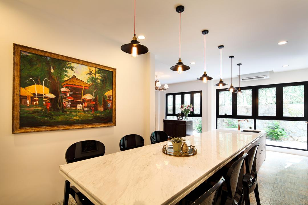 Chu Lin Road, The Scientist, Contemporary, Dining Room, Landed, Marble Top, Dining Table, 6 Seater, Six Seater, Artwork, Painting, Pendant Lights, Vintage Lamps, Indoors, Interior Design, Room, Furniture, Table, Art