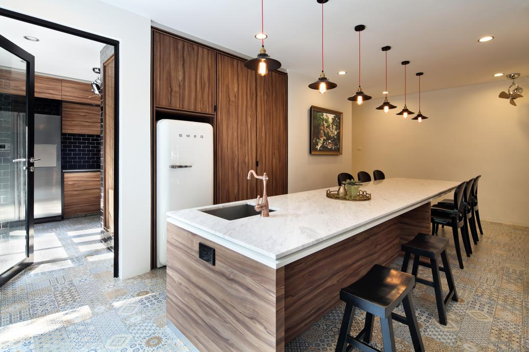 Chu Lin Road, The Scientist, Contemporary, Kitchen, Landed, Copper Faucet, Kitchen Island, Spacious, Pendant Lights, Smeg Fridge, Smeg, Refrigerator, Dark Wood, Kitchen Counter, Dry Kitchen, Sink, Indoors, Interior Design, Room, Dining Table, Furniture, Table, Chair, Bench