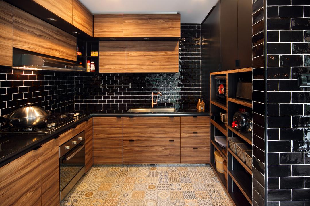 Chu Lin Road, The Scientist, Contemporary, Kitchen, Landed, Subway Tiles, Black Tiles, Patterned Flooring, Recessed Lightings, Black Subway, White Grout, Ceiling Fan, Rustic Laminates, Patterned Tiles, Appliance, Electrical Device, Oven