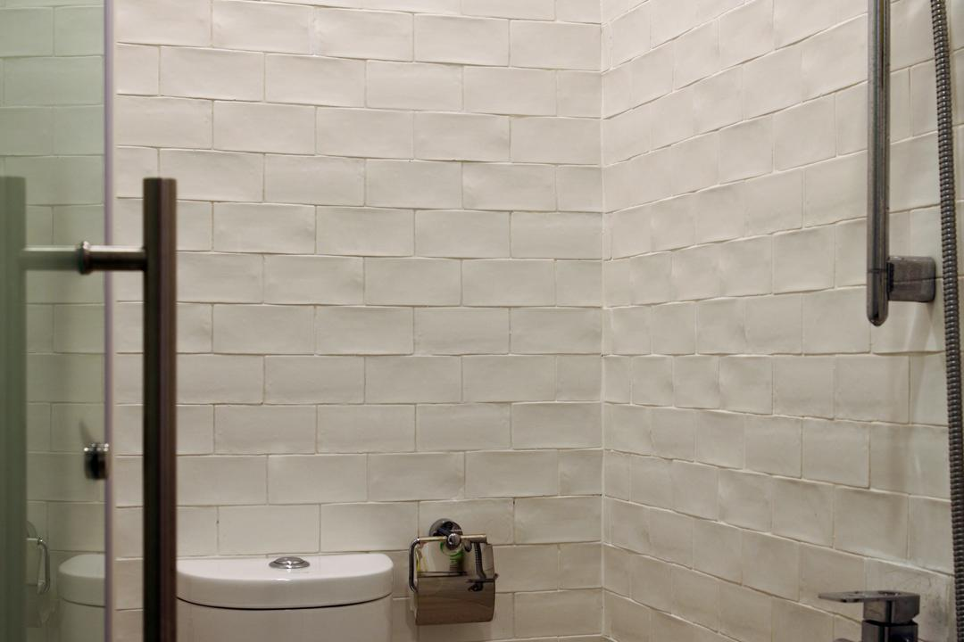 Chu Lin Road, The Scientist, Contemporary, Bathroom, Landed, Textured Wall, Shower, Swing Door, Water Closet, Toilet Bowl, White, All White, Rough Texture, Uneven Texture, Brick Wall, Indoors, Interior Design, Room