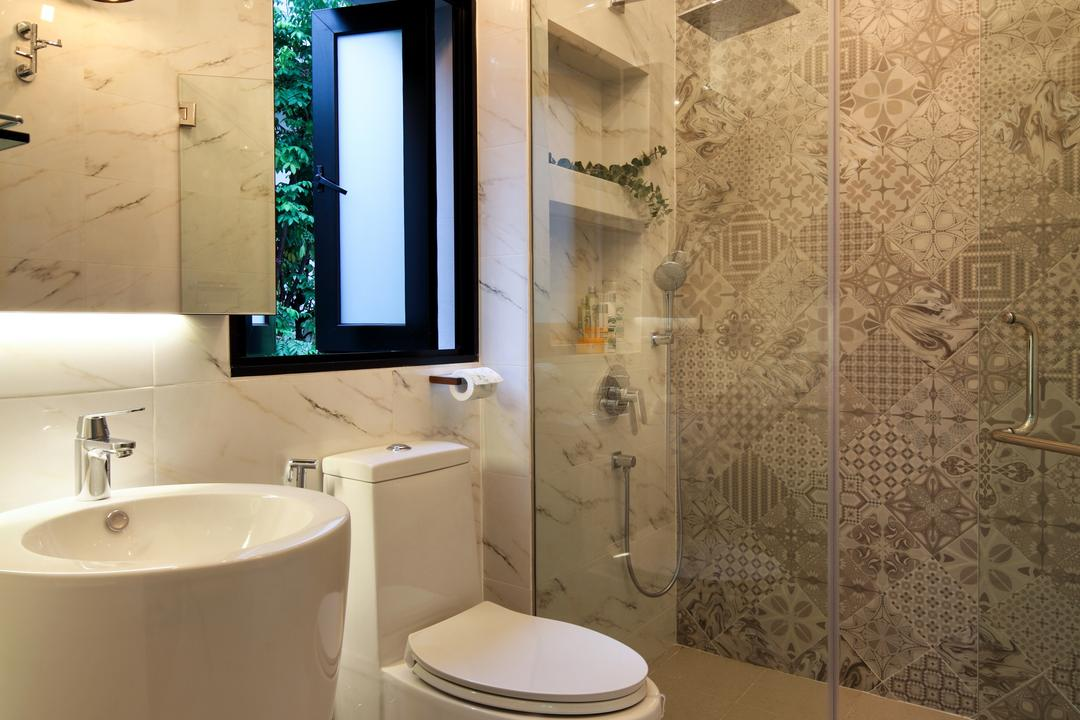 Chu Lin Road, The Scientist, Contemporary, Bathroom, Landed, Patterned Tiles, Shower, Glass Swing Door, Freestanding Basin, Freestanding Sink, Wall Sconce, Electronics, Lcd Screen, Monitor, Screen