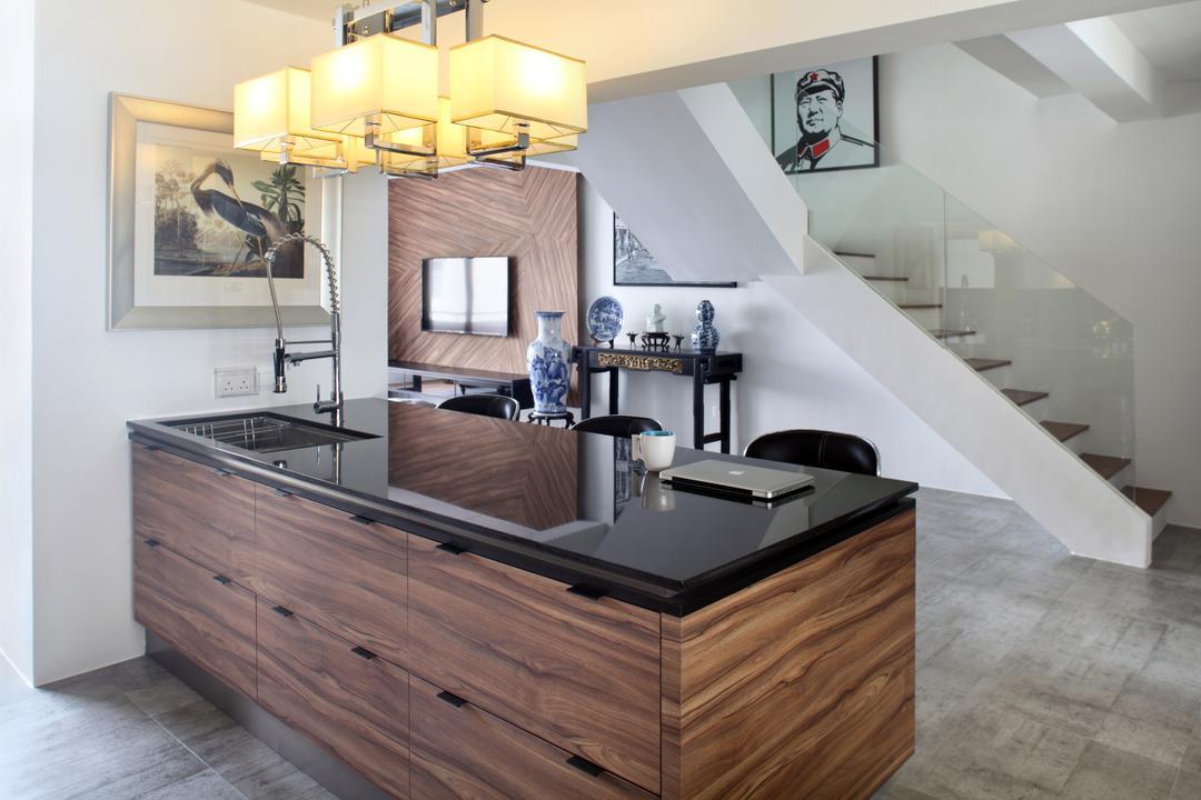 Dakota Crescent (Block 62), The Scientist, Contemporary, Kitchen, HDB, Dry Kitchen, Kitchen Island, Counter, Rustic Laminats, Knob Design, Staircase, Stairs, Light Fixture, Furniture, Indoors, Interior Design