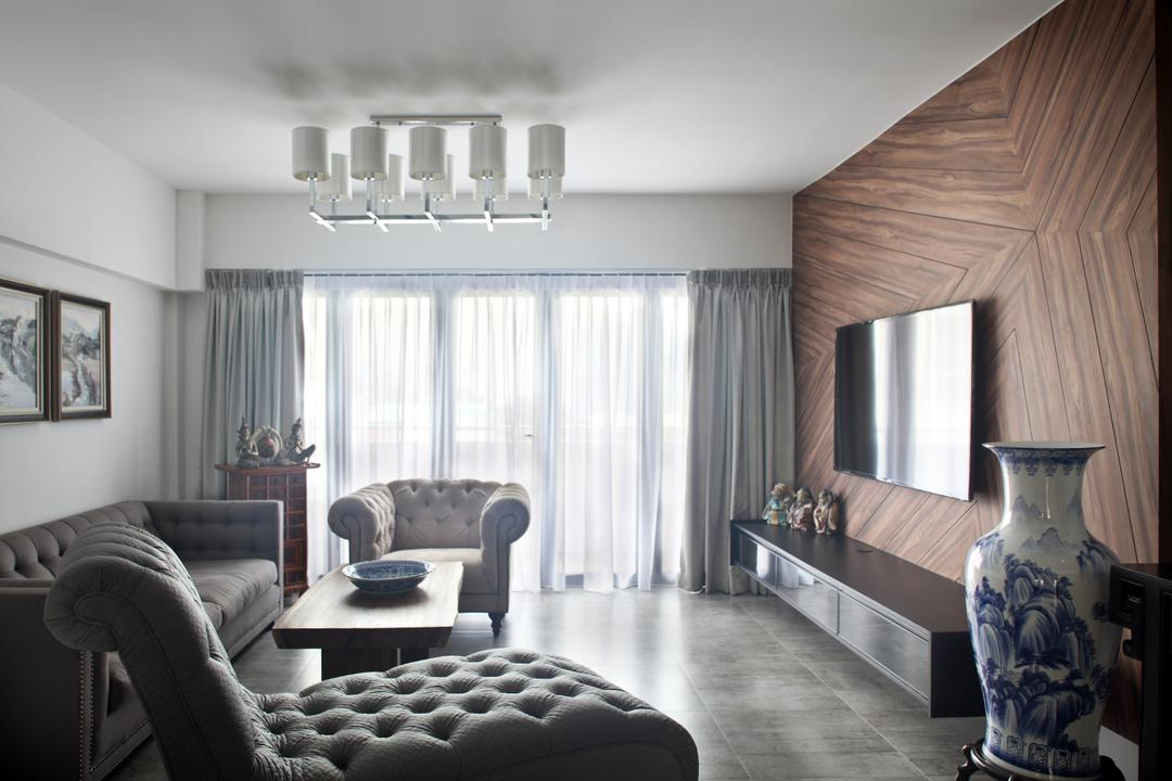 Dakota Crescent (Block 62), The Scientist, Contemporary, Living Room, HDB, Patterned Woodgrains, Wood Panelling, Wood Patterns, Chaise, Lounge, Fabric Sofa, Armchair, Quirky Lights, Curtains, Cement Tiles, Couch, Furniture, Indoors, Room, Bedroom, Interior Design, Chair