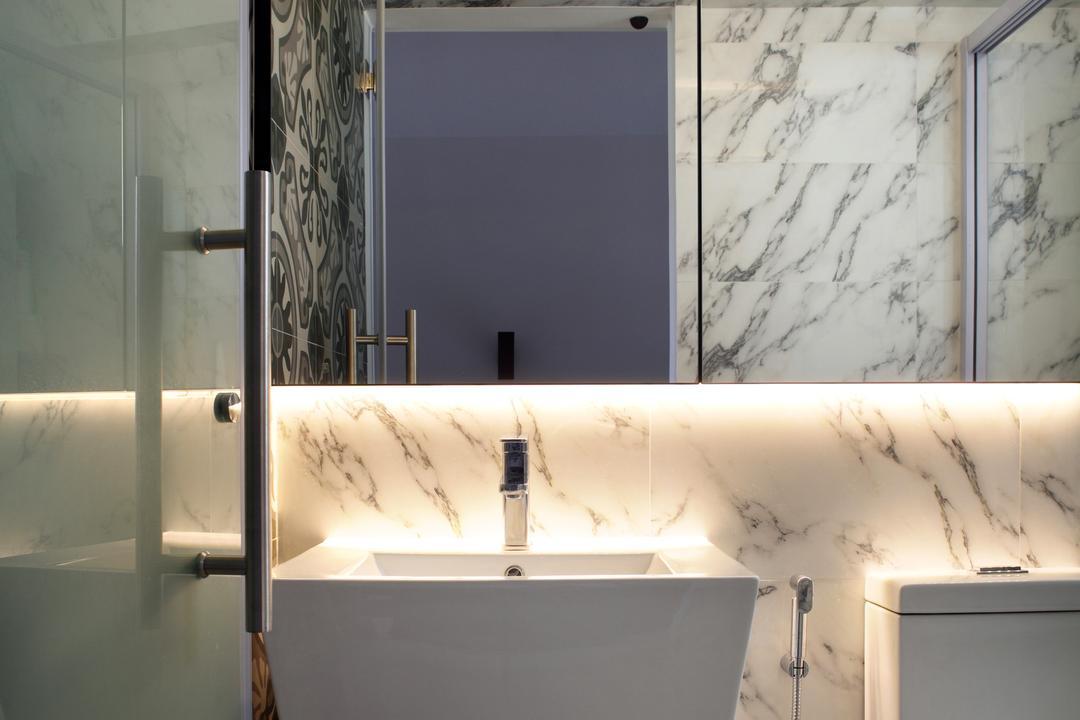 Dakota Crescent (Block 62), The Scientist, Contemporary, Bathroom, HDB, Basin, Wall Mount Basin, Deep Basin, Vanity Mirror, Marble Tiles, Tiles, Cove Lighting