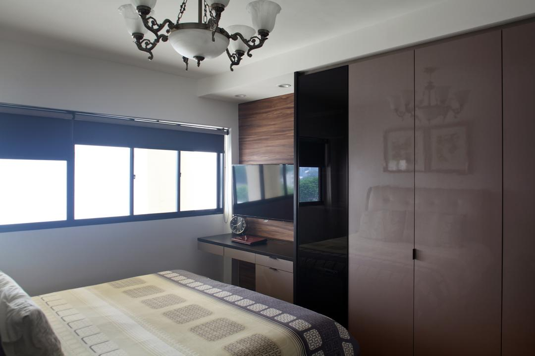 Dakota Crescent (Block 62), The Scientist, Contemporary, Bedroom, HDB, Wardrobe, Small Space, Bed, Chandelier, Simple, Small Room, Lamp