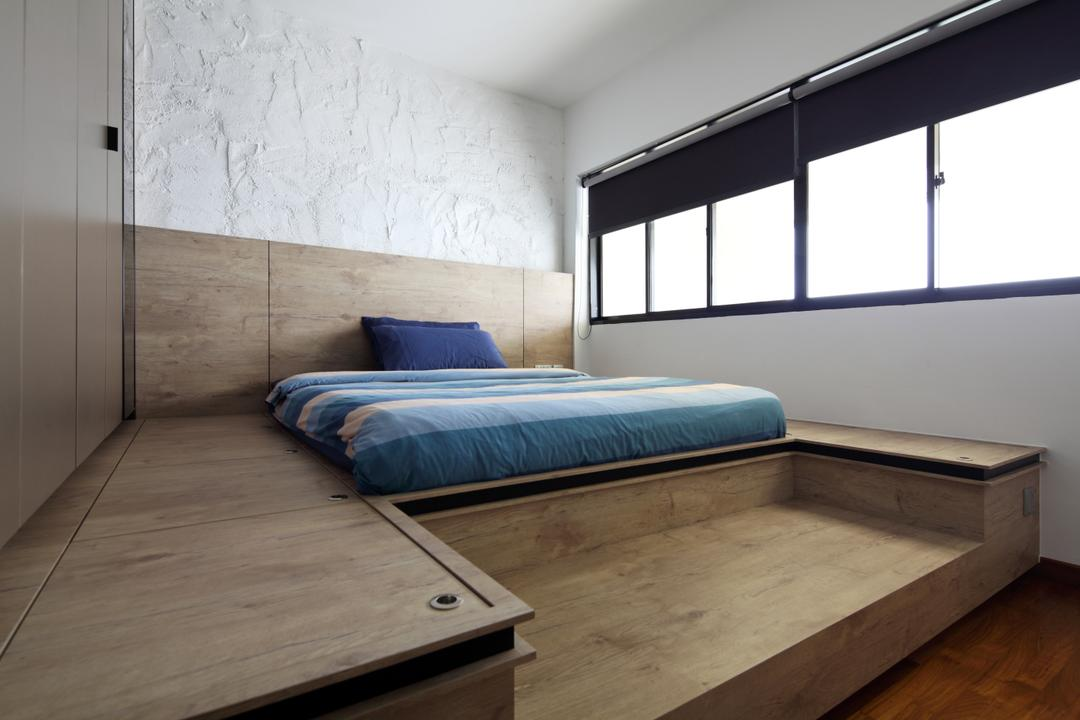 Dakota Crescent (Block 62), The Scientist, Contemporary, Bedroom, HDB, Raised Platform, Platform Bed, Platform, Wooden Platform, Storage In Platform, Platform Storage, Textured Wall, Uneven Wall, Blinds, Dark Blinds, Hidden Storage, Concealed Storage, Bed, Furniture