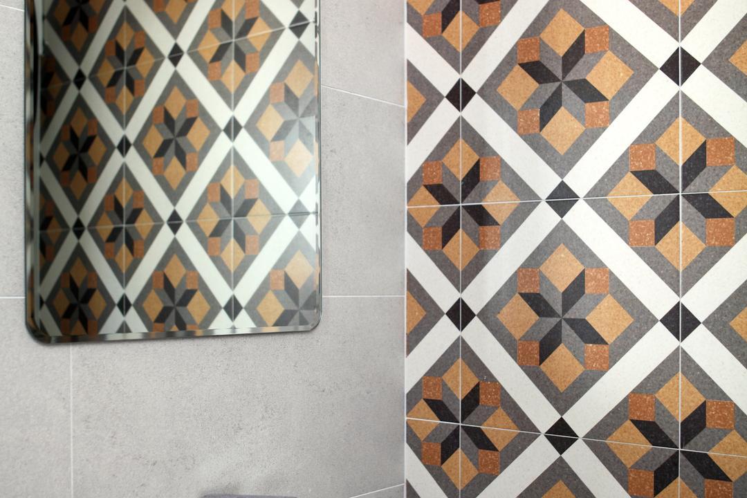 Dakota Crescent (Block 62), The Scientist, Contemporary, Bathroom, HDB, Patterned Tiles, Mirror, Wall Mirror, Basin, Tile
