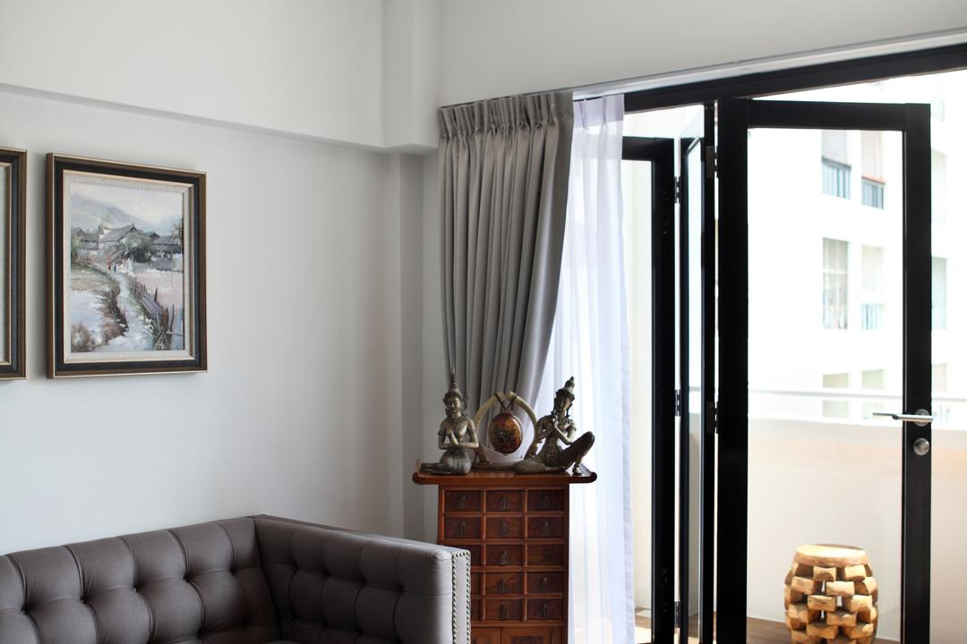 Dakota Crescent (Block 62), The Scientist, Contemporary, Living Room, HDB, Suar Wood, Wood Suar, Recycled Wood, Solid Wood, Folding Door, Curtains, Sofa, Couch, Furniture, Art, Painting