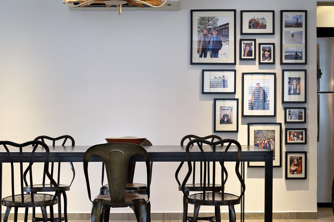 Bedok North, The Scientist, Industrial, Dining Room, HDB, Mismatched Chairs, Chandelier, Tiles, Grey, Gray, Monochrome, Quirky Lighting, Wall Frames, Photo Frames, Gallery Wall, Vertical Framing, Wall Art, Chair, Furniture, Indoors, Interior Design, Room, Dining Table, Table