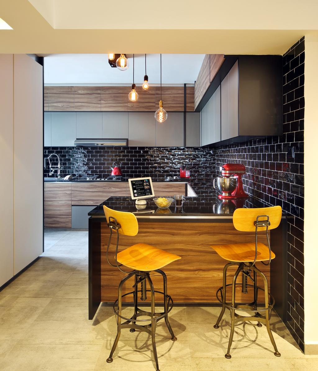 Industrial, HDB, Kitchen, Bedok North, Interior Designer, The Scientist, Kitchen Peninsula, High Stools, Extended Counter, Extended Island, Open Concept, L Shaped, Warm Lightings, Chair, Furniture, Dining Room, Indoors, Interior Design, Room, Auditorium, Hall, Theater