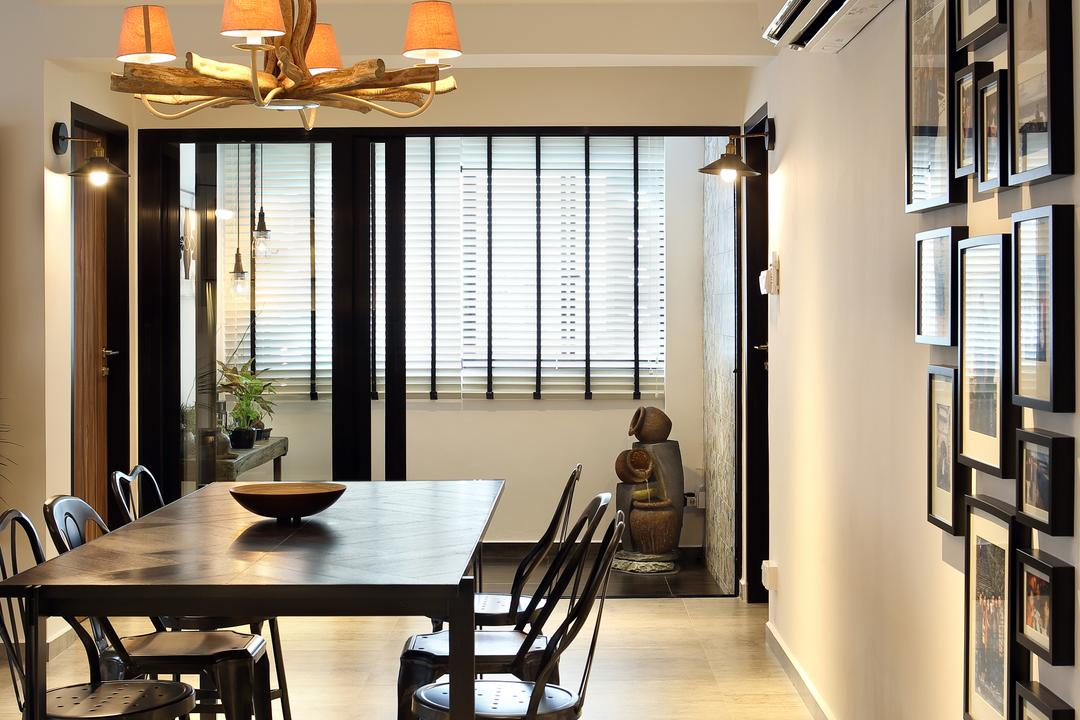 Bedok North, The Scientist, Industrial, Dining Room, HDB, Hallway, Sliding Doors, Photo Frames, Dining Table, Spacious, Simple, Furniture, Table, Human, People, Person, Chair, Indoors, Interior Design, Room, Shelf