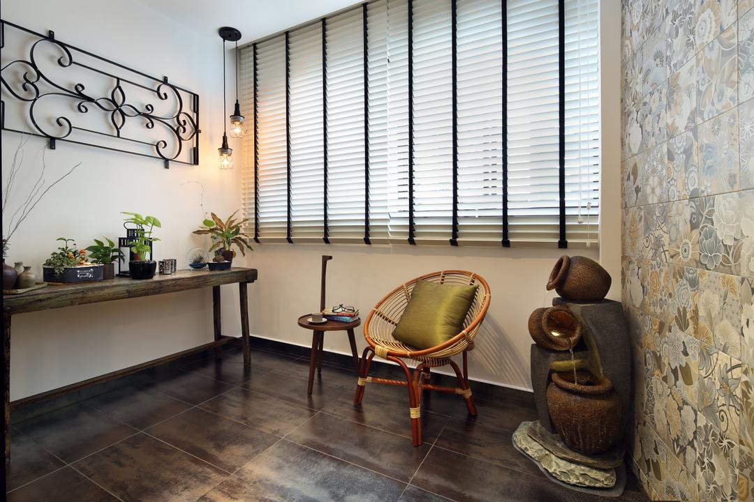 Bedok North, The Scientist, Industrial, Balcony, HDB, Wall Frame, Venetian Blinds, Tiles, Textured Flooring, Dark Wood, Potted Plants, Patterned Wall, Acapulco Chair, Steel Framed Decor, Exposed Bulbs, Pendant Lights, Chair, Furniture