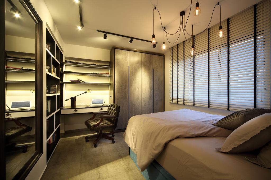 Industrial, HDB, Bedroom, Bedok North, Interior Designer, The Scientist, Leather Chair, Leather Office Chair, Tracklights, Bed, Wardrobe, Laminate, Venetian Blinds, Brown, Dark Colours, Dim, Furniture
