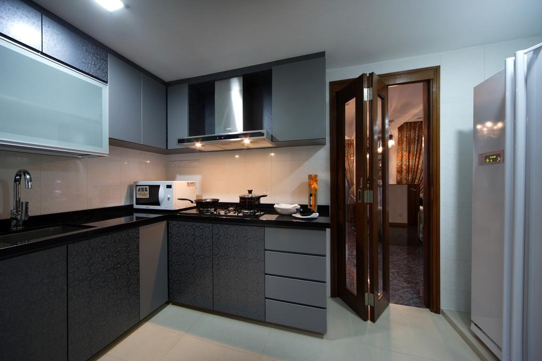 The Florida, Chapter One Interior Design, Traditional, Kitchen, Condo, Exhaust Hood, Cabinet, Glass Folding Doors, Black, Gray, Indoors, Interior Design, Room