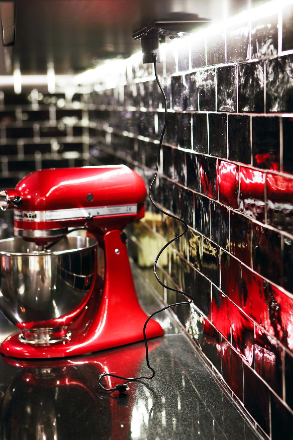 Industrial, HDB, Kitchen, Bedok North, Interior Designer, The Scientist, Black Subway, Black Tiles, Subway Tiles, Tile Grout, Glossy Black, Kitchen Countertop, Countertop, Baking Appliance, Kitchenaid, Glass, Playground