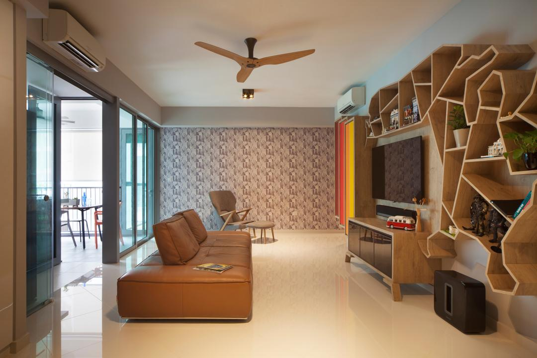 Canberra Road (Block 18A), The Scientist, Eclectic, Living Room, Condo, Sliding Door, Wallpaper, Simple, Unique, Quirky, Colourful, Spacious, Armchair, Chair, Furniture, Indoors, Interior Design