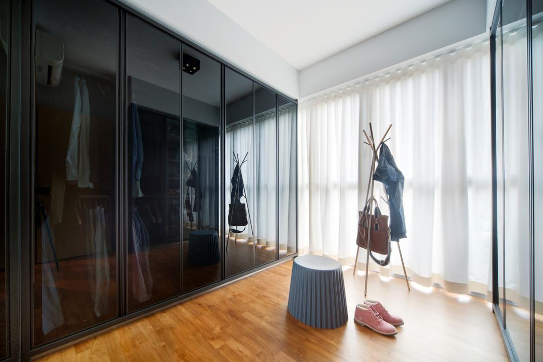Canberra Road (Block 18A), The Scientist, Eclectic, Bedroom, Condo, Dresser, Walk In Wardrobe, Cabinet, Dressing Room, Stool, Coat Rack, Clothes Rack, Wood Flooring, Parquet, Curtains, Dark Glass, Black Glass, Flooring