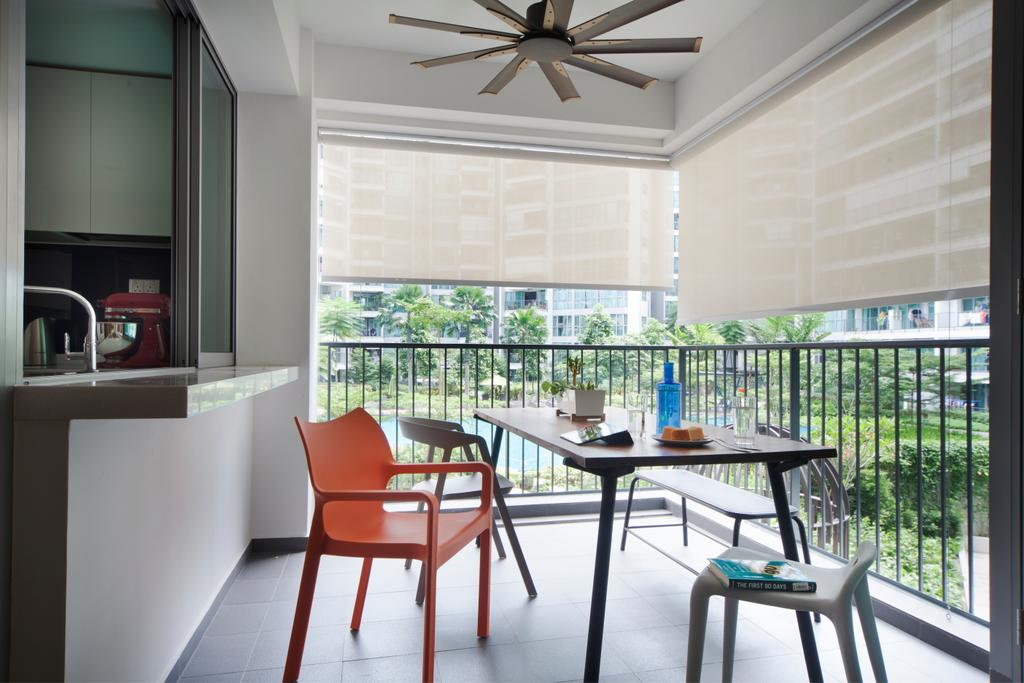 Eclectic, Condo, Balcony, Canberra Road (Block 18A), Interior Designer, The Scientist, Ceiling Fan, Roller Blinds, Grille, Railing, Outdoor Dining, Kitchen Ledge, Extended Ledge, Chair, Furniture, Architecture, Building, Skylight, Window, Dining Room, Indoors, Interior Design, Room, Bathroom