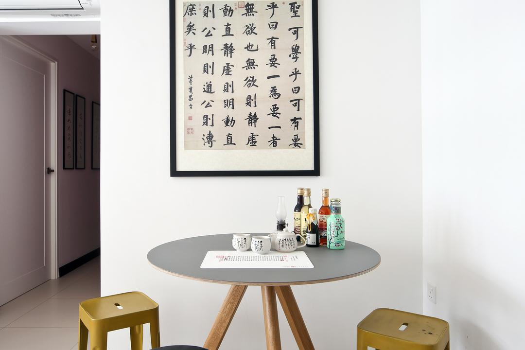 Tampines (Block 869B), The Scientist, Eclectic, Dining Room, HDB, Round Table, Round Dining Table, Stools, Dining Corner, Mismatched Chairs, Bar Stool, Furniture, Chair