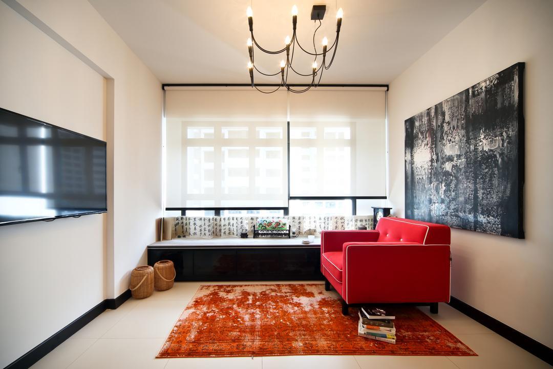 Tampines (Block 869B), The Scientist, Eclectic, Living Room, HDB, Exposed Bulbs, Chandelier, Industrial Chandelier, Wall Mural, Light Fixture, Dining Room, Indoors, Interior Design, Room, Blackboard, Bedroom