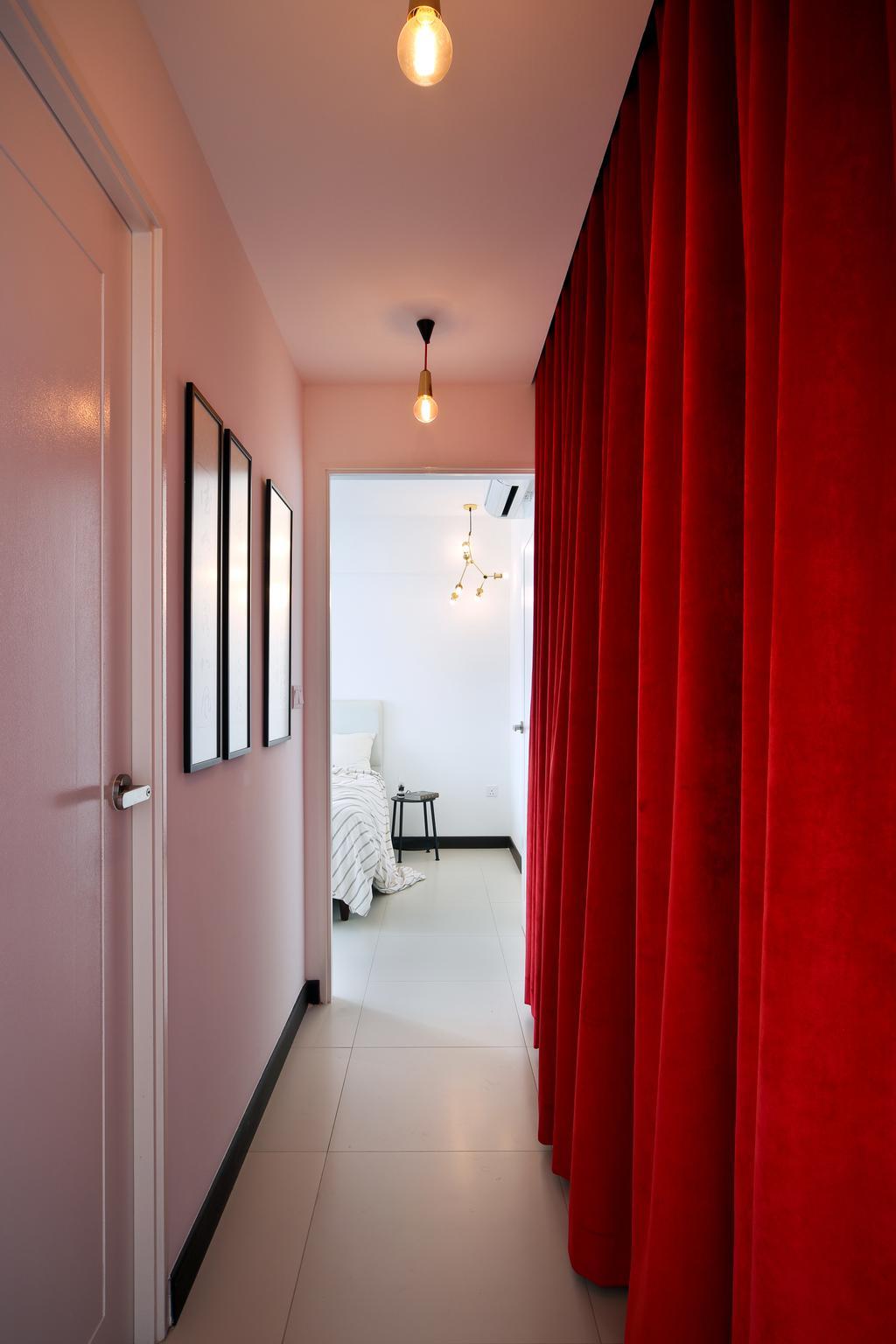 Eclectic, HDB, Bedroom, Tampines (Block 869B), Interior Designer, The Scientist, Curtain, Hallway, Corridor, Tiles