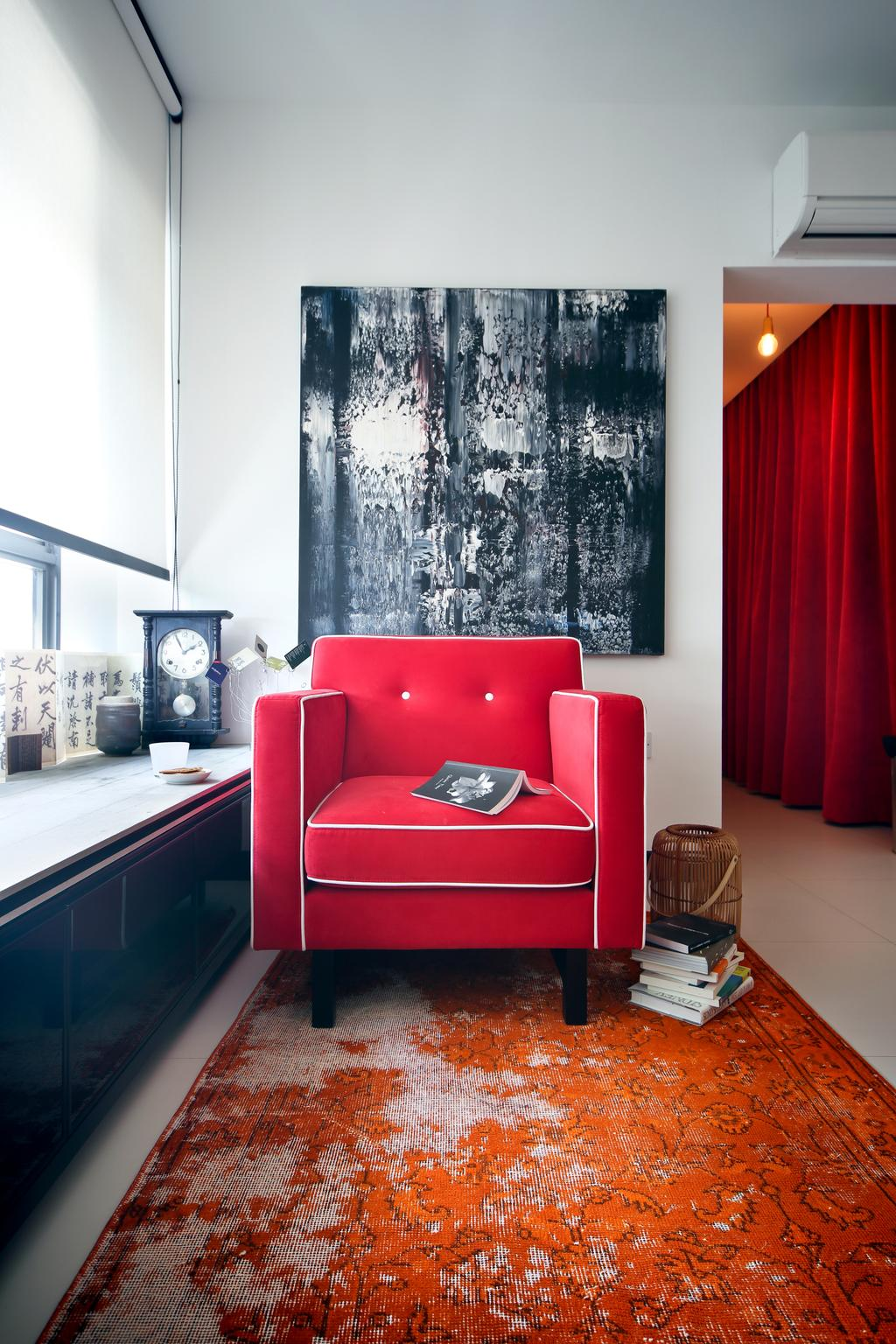 Eclectic, HDB, Living Room, Tampines (Block 869B), Interior Designer, The Scientist, Armchair, Small Flat, Red Rug, Wall Art, Window Ledge, Clock, Couch, Furniture, Indoors, Interior Design