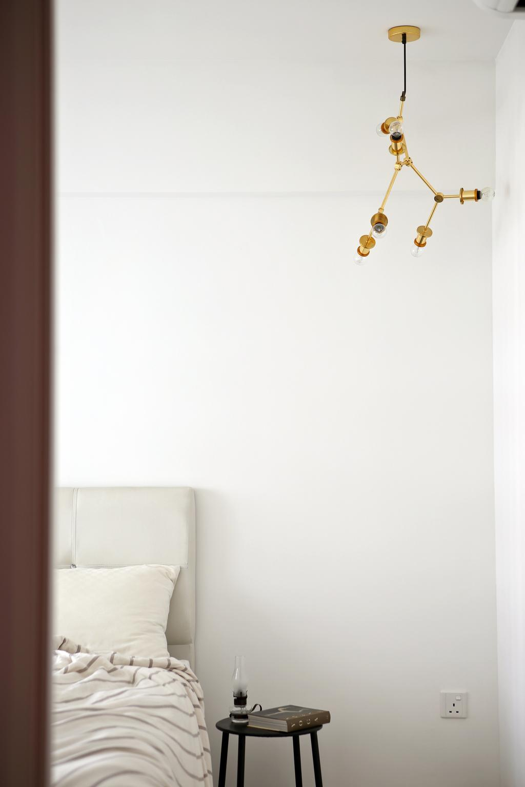 Eclectic, HDB, Bedroom, Tampines (Block 869B), Interior Designer, The Scientist, Quirky Lamp, Bed Side Stool, Monochrome, Simple, Bed