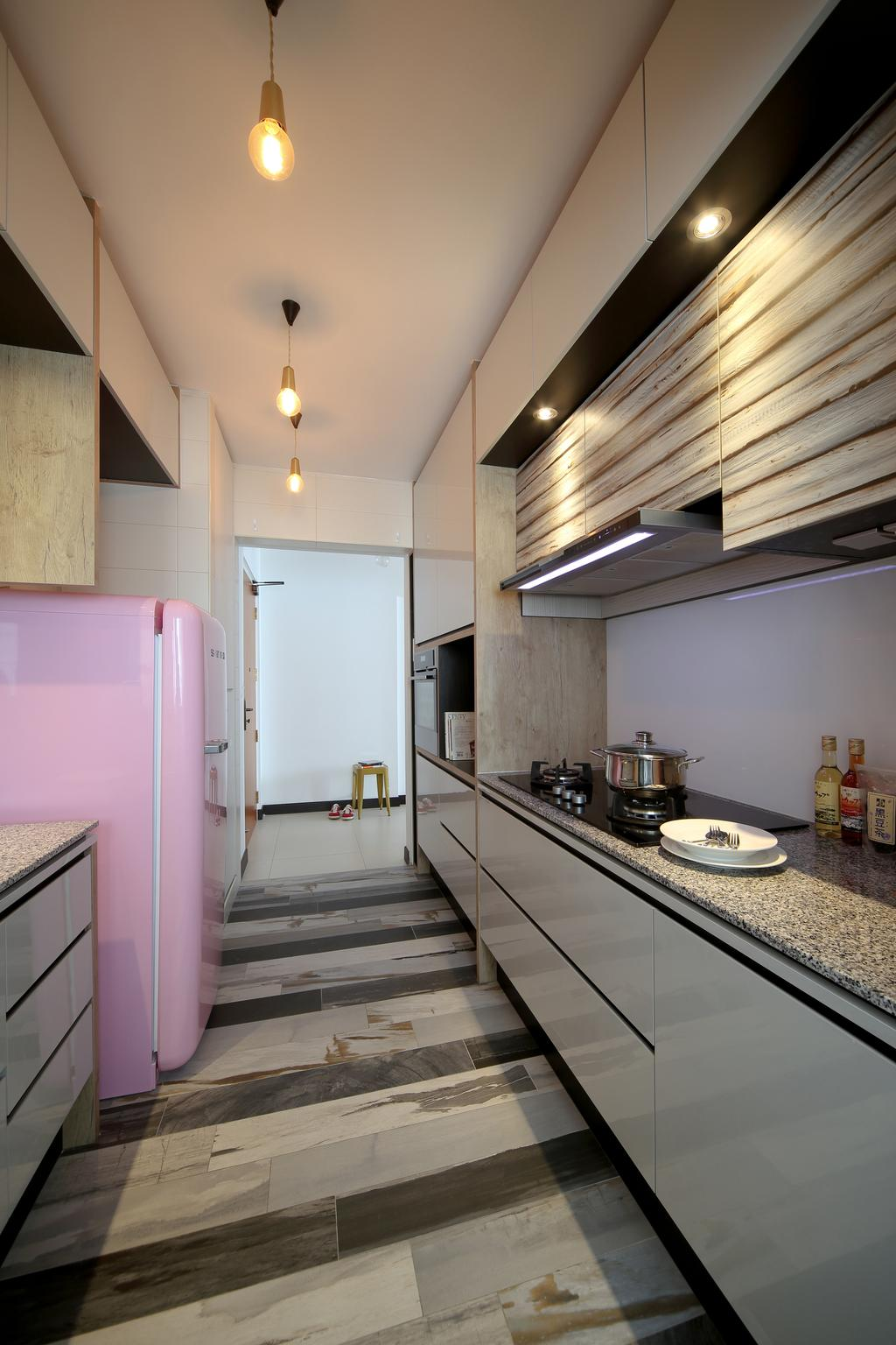 Eclectic, HDB, Kitchen, Tampines (Block 869B), Interior Designer, The Scientist, Kitchen Counter, Gallery Kitchen, Countertop, Stripes, Angular Lines, Grey, Industrial Lamp, Appliance, Electrical Device, Fridge, Refrigerator, Building, Housing, Indoors