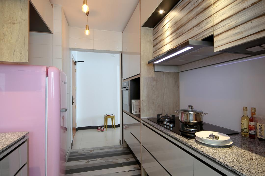 Tampines (Block 869B), The Scientist, Eclectic, Kitchen, HDB, Kitchen Counter, Gallery Kitchen, Countertop, Stripes, Angular Lines, Grey, Industrial Lamp, Appliance, Electrical Device, Fridge, Refrigerator, Building, Housing, Indoors