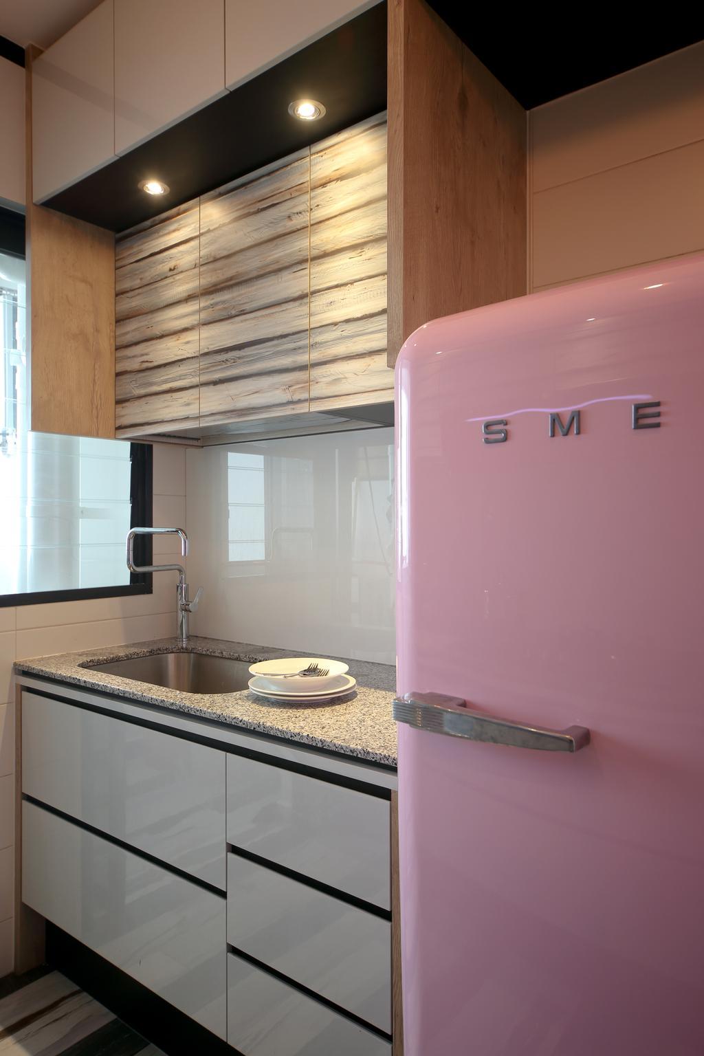 Eclectic, HDB, Kitchen, Tampines (Block 869B), Interior Designer, The Scientist, Smeg Fridge, Smeg, Refrigerator, Pink Fridge, Kitchen Cabinet