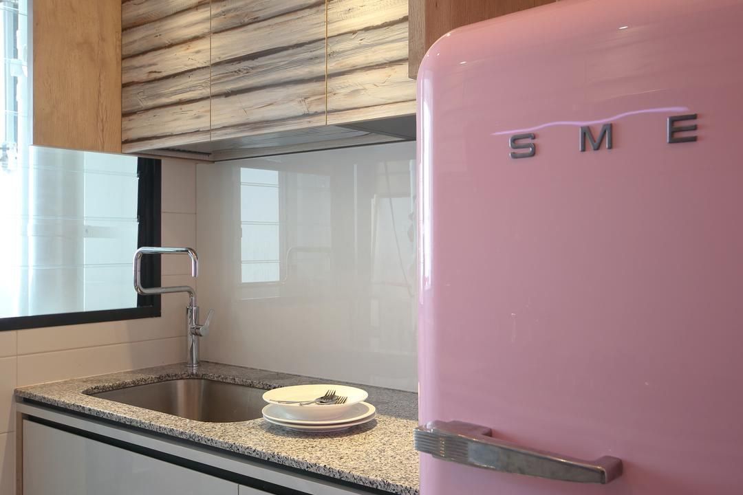 Tampines (Block 869B), The Scientist, Eclectic, Kitchen, HDB, Smeg Fridge, Smeg, Refrigerator, Pink Fridge, Kitchen Cabinet