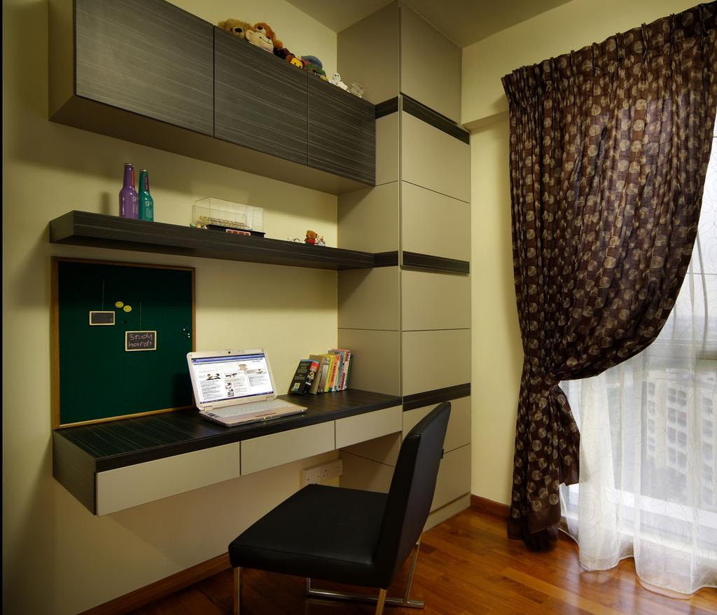 Traditional, Condo, Study, The Florida, Interior Designer, Chapter One Interior Design, Curtains, Shelf, Table, Mounted Table, Chair, Cabinet, Parquet, HDB, Building, Housing, Indoors, Loft