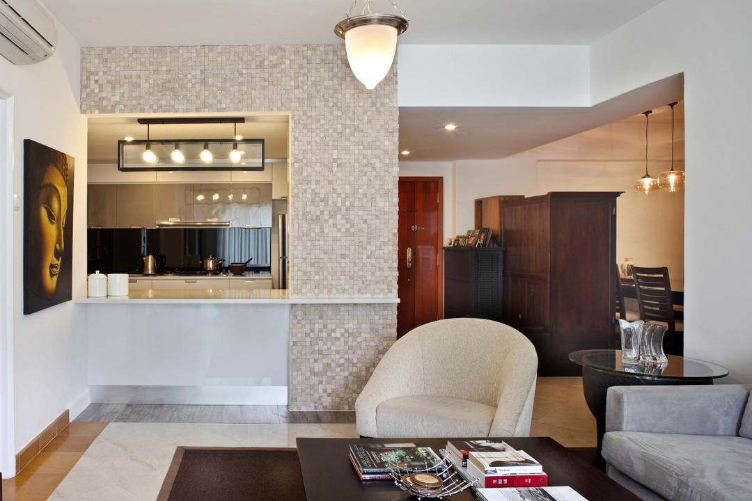 Emerald Garden, The Scientist, Traditional, Living Room, Condo, Counter, Open Concept, Open Layout, Kitchen Counter, Extended Counter, Couch, Furniture, Indoors, Interior Design