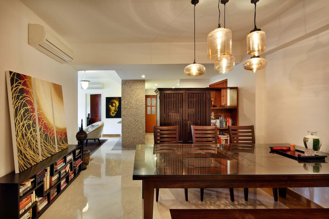 Emerald Garden, The Scientist, Traditional, Dining Room, Condo, Glass Lamp, Canvas Paintings, Marble Flooring, Glass Table, Wooden Table, Pendant Lamps, Balinese, Resort, Javanese, Bookcase, Indoors, Interior Design, Room, Dining Table, Furniture, Table, Chair