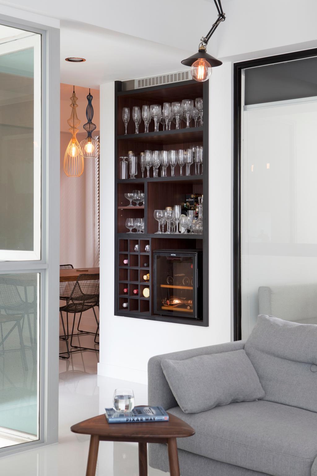 Minimalistic, Condo, Living Room, Amber Gardens, Interior Designer, The Scientist, Wine Storage, Wine Cabinet, Wall Storage, Smart Storage Solution, Wine Rack Display, Bar, Home Decor, Linen, Electronics, Entertainment Center