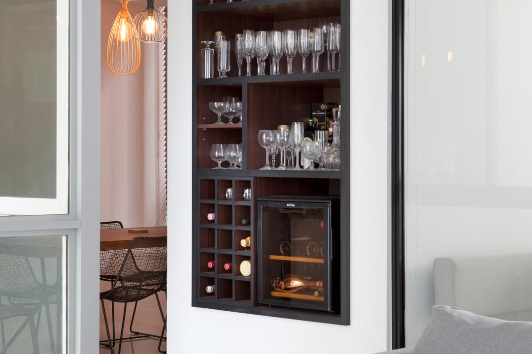 Amber Gardens, The Scientist, Minimalistic, Living Room, Condo, Wine Storage, Wine Cabinet, Wall Storage, Smart Storage Solution, Wine Rack Display, Bar, Home Decor, Linen, Electronics, Entertainment Center