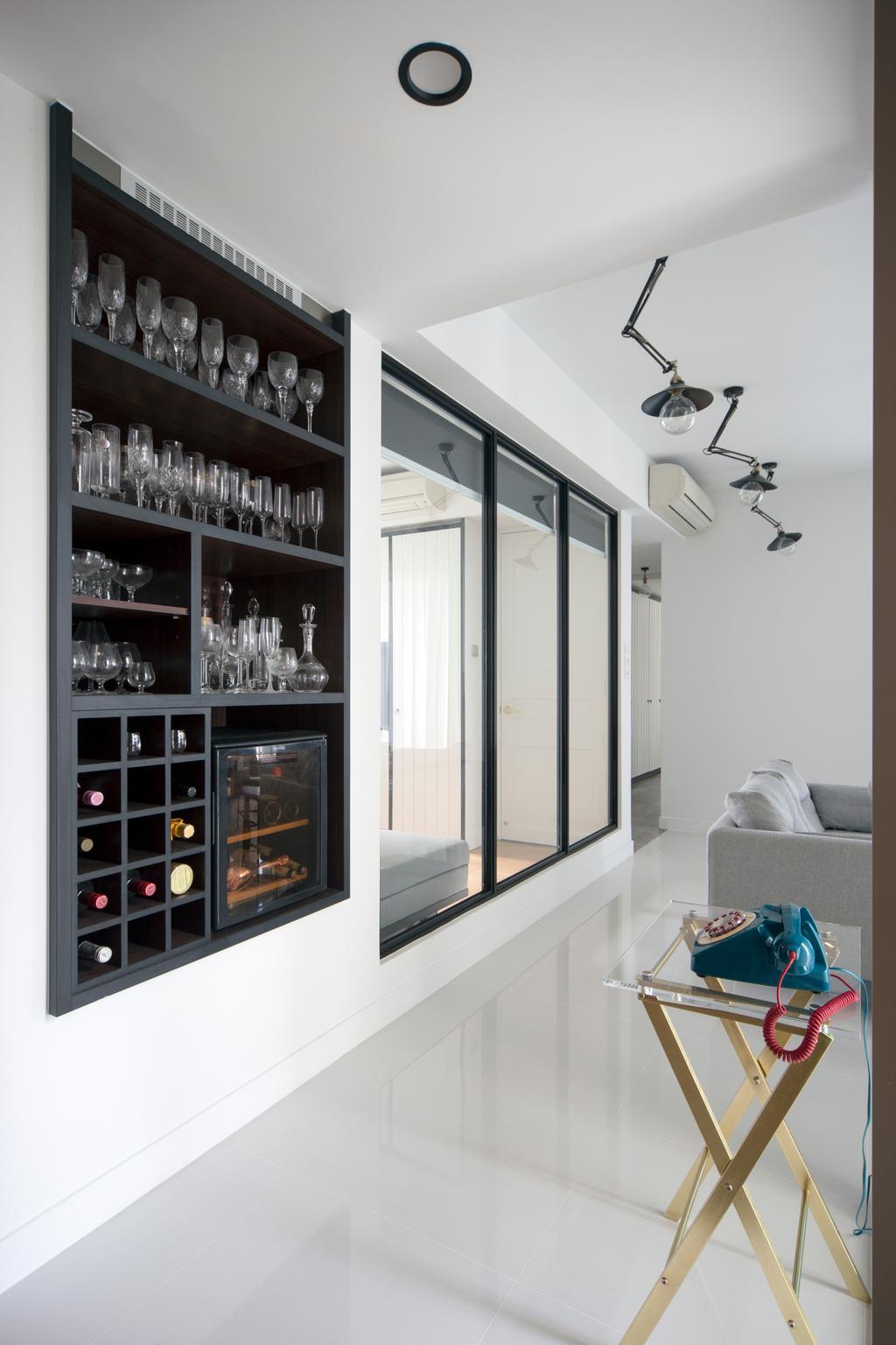 Minimalistic, Condo, Living Room, Amber Gardens, Interior Designer, The Scientist, Wine Storage, Wall Storage, Vertical Storage, Recessed Storage, Side Table, Hallway, Bright And Airy, All White