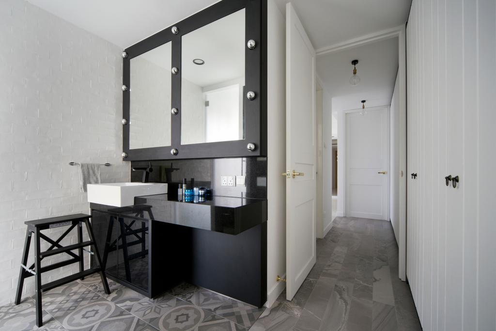 Minimalistic, Condo, Bathroom, Amber Gardens, Interior Designer, The Scientist, Wall Lamps, Wall Lights, Black And White, Patterned Tiles, Tiles, Gray, Grey, Grey Tiles, Grey And White, Monochrome, Neutral Colours, Stool, Vanity Counter, Black Counter, Chair, Furniture, Corridor, Flooring, Dining Table, Table, HDB, Building, Housing, Indoors, Loft