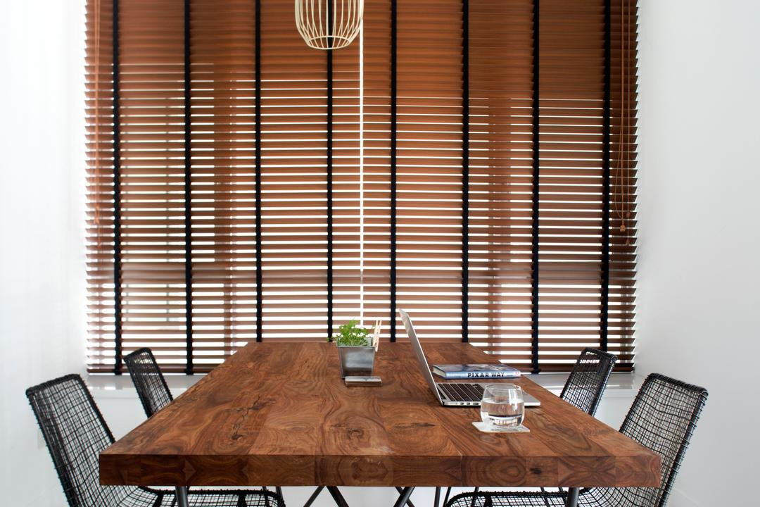 Amber Gardens, The Scientist, Minimalistic, Dining Room, Condo, Dark Brown Blinds, Blinds, Dark Wood, Wooden Dining Table, Mesh Chairs, Metal Chairs, Pendant Lamps, Hanging Lamps, Dining Table, Furniture, Table, Curtain, Home Decor, Window, Window Shade, Chair