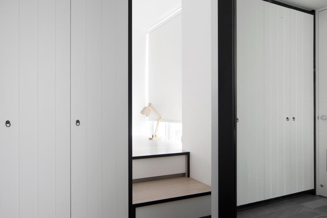 Amber Gardens, The Scientist, Minimalistic, Bedroom, Condo, Steps, Stairs, Tiles, Monochrome, Black And White, Large Mirror, Wall Mirror, Closet, Furniture, Wardrobe