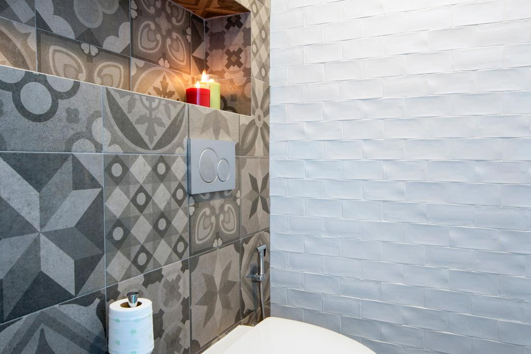 Amber Gardens, The Scientist, Minimalistic, Bathroom, Condo, Tiles, Grey Tiles, Patterned Wall, Uneven Texture, Monochrome, Water Closet, Toilet Bowl, Ledge, Human, People, Person, Candle