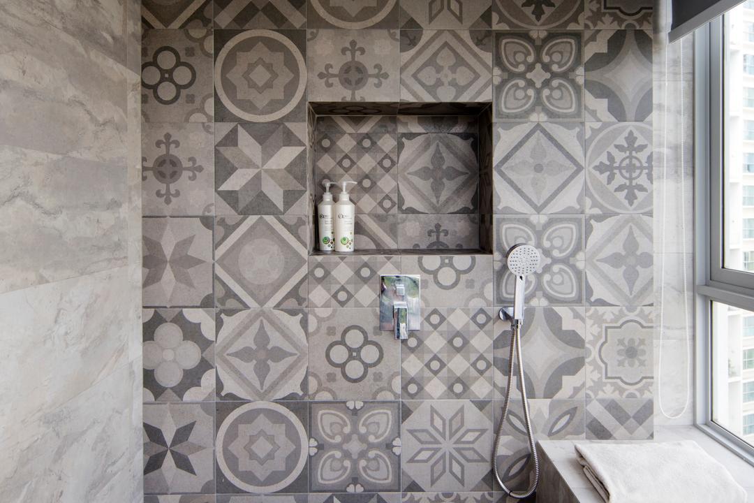 Amber Gardens, The Scientist, Minimalistic, Bathroom, Condo, Blinds, Ledge, Window Ledge, Shower, Patterned Tiles, Grey Tiles