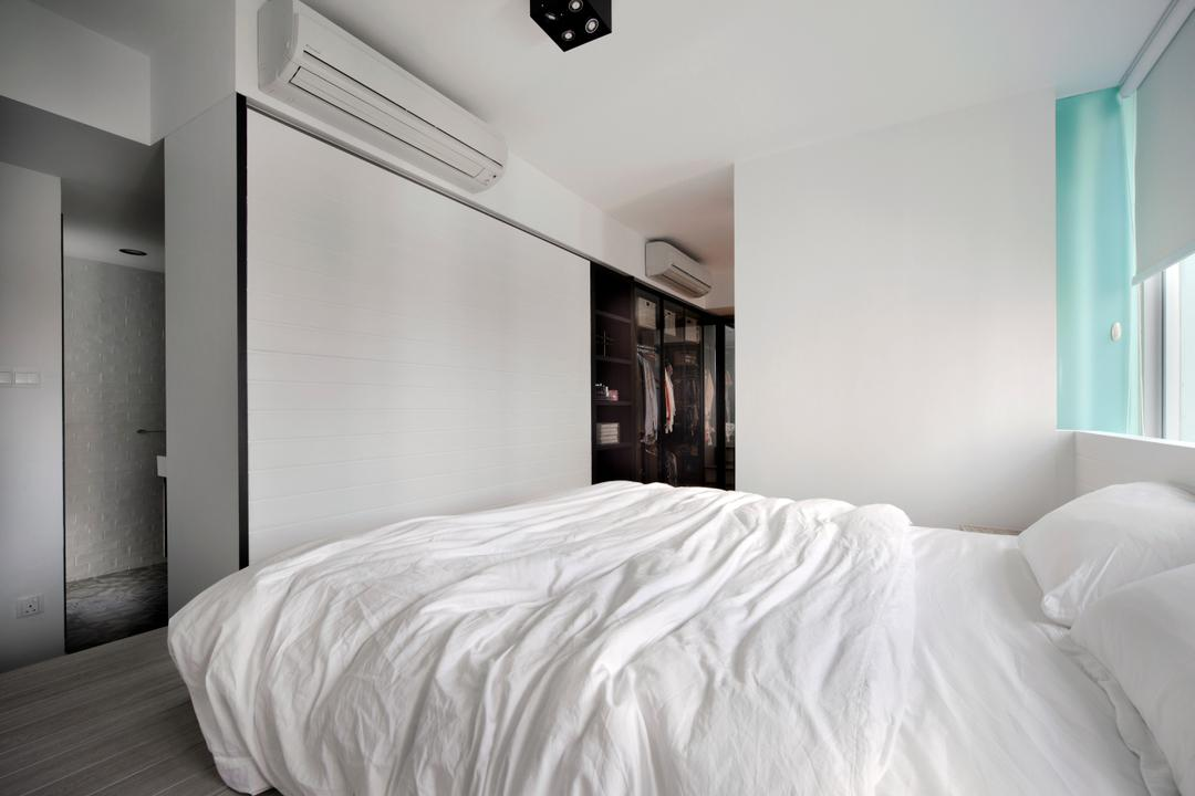 Amber Gardens, The Scientist, Minimalistic, Bedroom, Condo, Roller Blinds, Window Ledge, Bed Against Window, All White, White Sheets, Wardrobe, Cupboard, Indoors, Interior Design, Room
