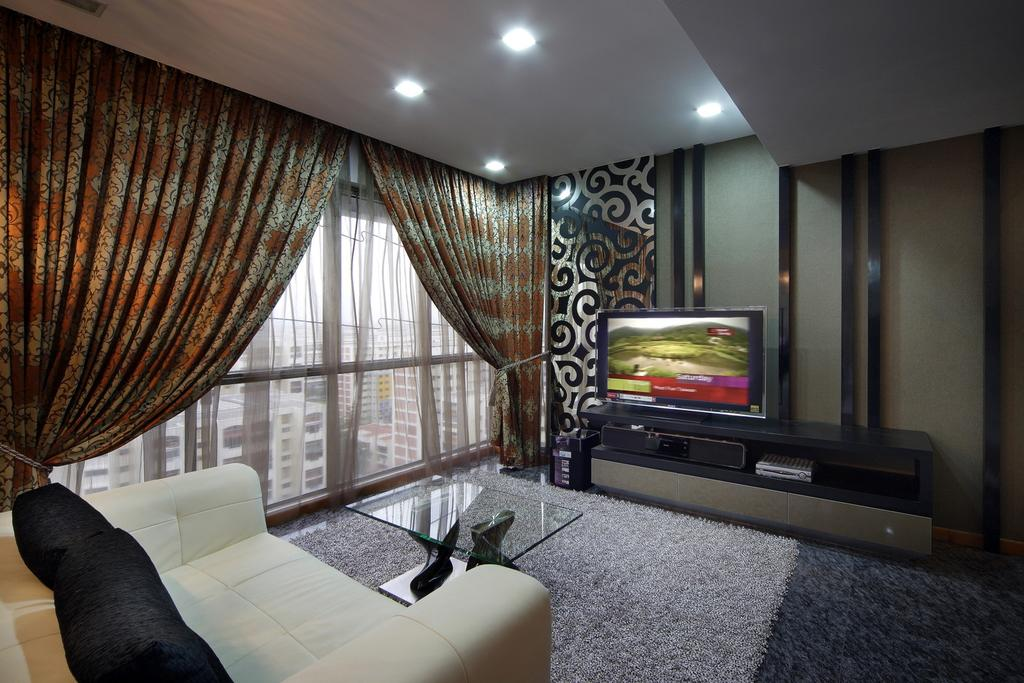Traditional, Condo, Living Room, The Florida, Interior Designer, Chapter One Interior Design, Curtains, Glass Table, Table, Rug, Sofa, Loveseat, Tv Console, Wall Panels, False Ceiling, Full Length Windows, Feature Wall, Couch, Furniture, HDB, Building, Housing, Indoors