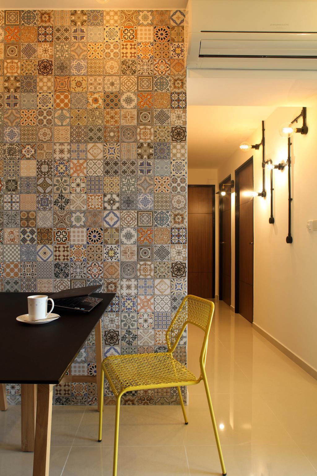 Eclectic, HDB, Living Room, Adora Green (Block 348D), Interior Designer, The Scientist, Industrial, Hallway, Corridor, Walkway, Chair, Furniture, Coffee Cup, Cup, Tile